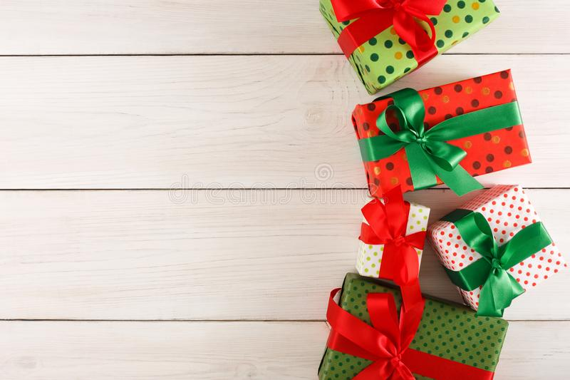 Download Christmas Gift Boxes Top View On Wood Table Background Stock Photo