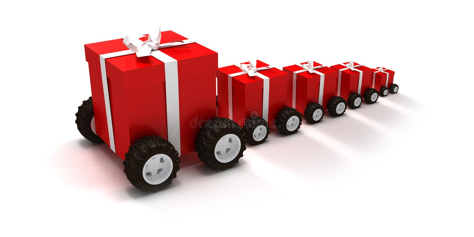 Gift boxes convoy vector illustration