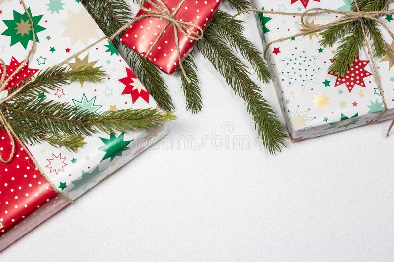 Christmas gift boxes on white background with empty space for text stock photo