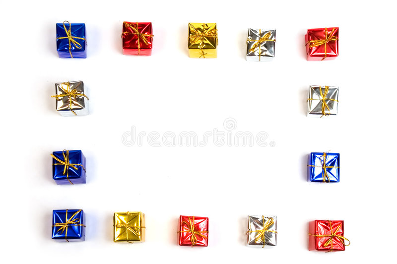 Gift boxes frame stock photography