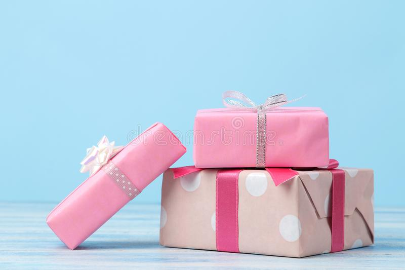 Gift boxes. Gifts on a gentle blue background. Holidays. Valentine`s Day. women`s Day. mother`s day. space for text royalty free stock photo