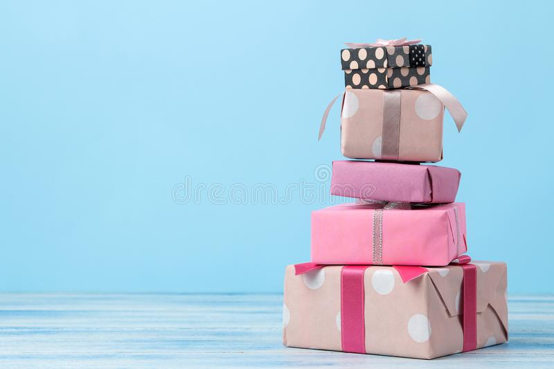 Gift boxes. Gifts on a gentle blue background. Holidays. Valentine`s Day. women`s Day. mother`s day. space for text stock photos