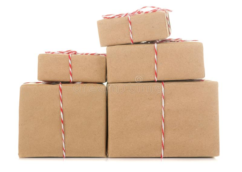 Gift boxes. gifts on a white isolated background. Holidays. Valentine`s Day. women`s Day. mother`s day stock photo