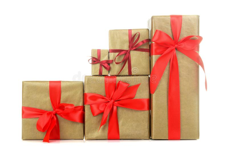 Gift boxes. gifts on a white isolated background. Holidays. Valentine`s Day. women`s Day. mother`s day stock image