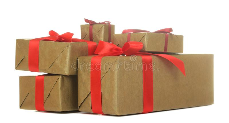 Gift boxes. gifts on a white isolated background. Holidays. Valentine`s Day. women`s Day. mother`s day stock photos