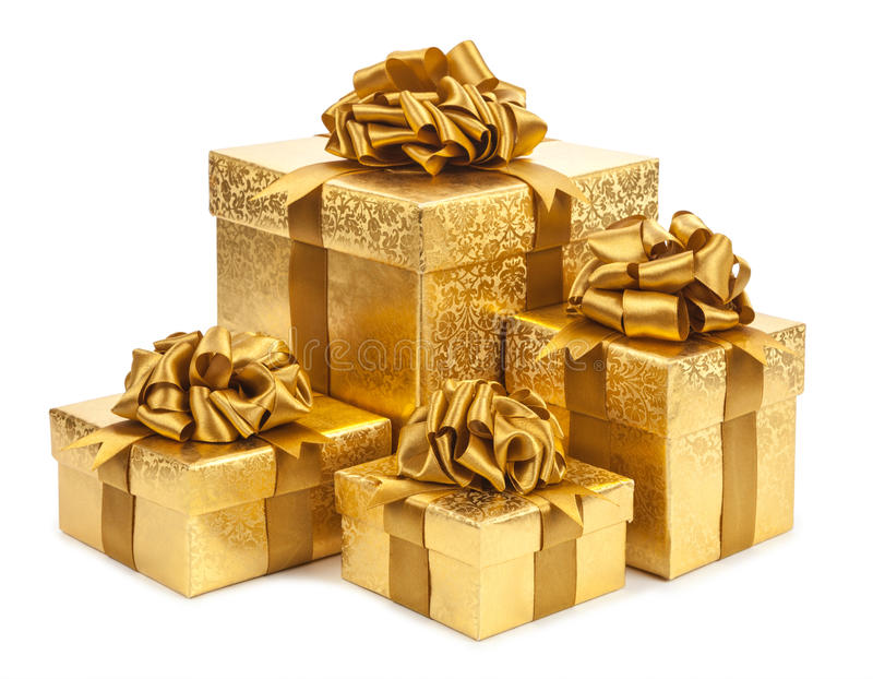 Gift boxes of gold color isolated on white background royalty free stock photos