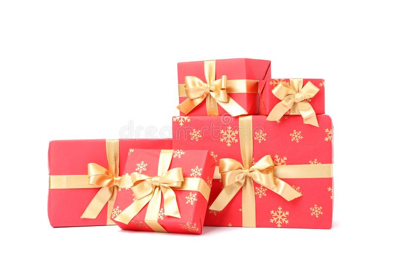 Gift boxes with golden bow isolated royalty free stock image