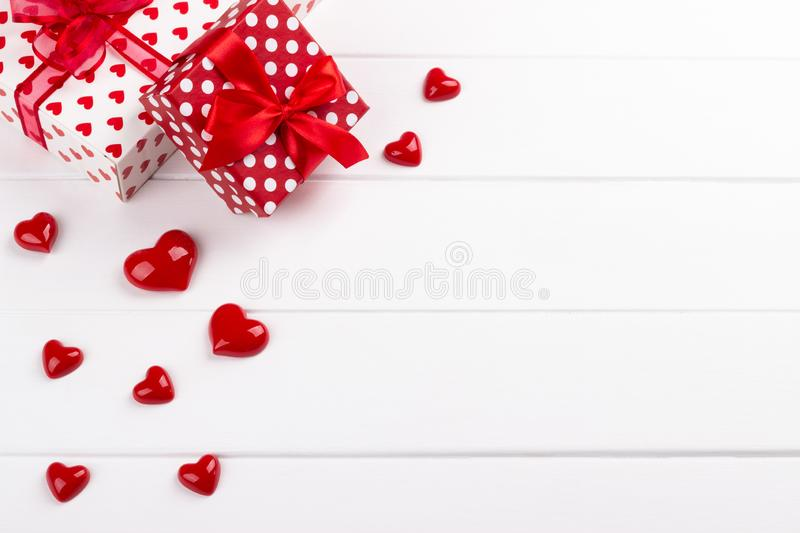 Gift boxes and hearts royalty free stock image