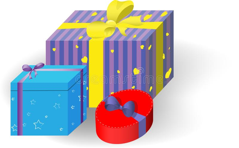 Gift Boxes. the Holidays Christmas, New Year, Birthday, Valentine s Day. stock illustration