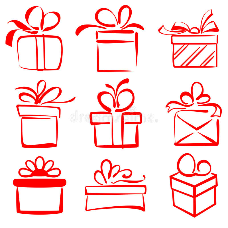 Free Gift Boxes Icon Set Sketch Vector Illustration Royalty Free Stock Photos - 33837158