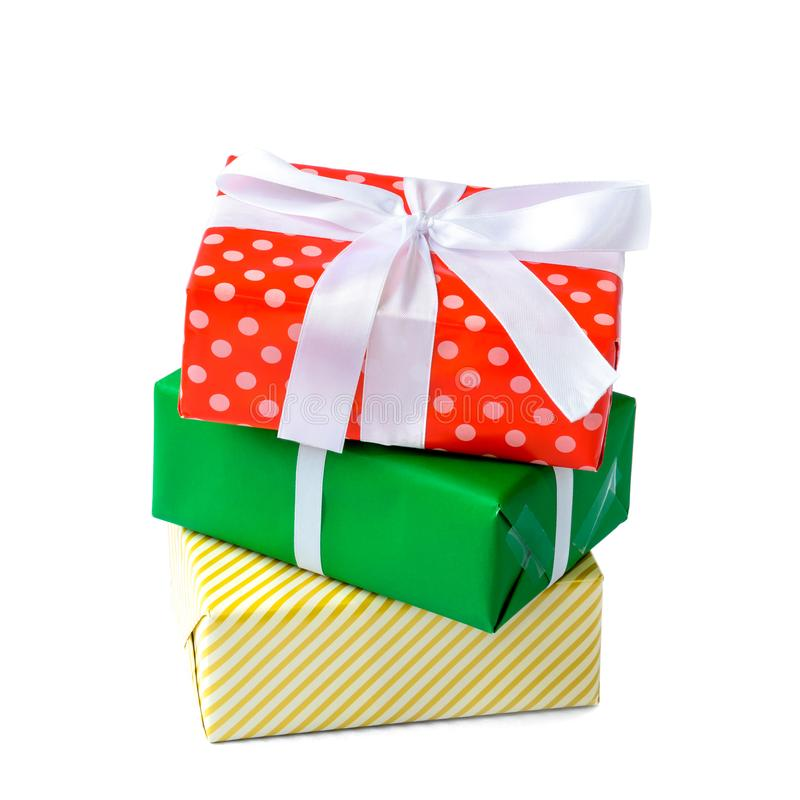 Gift boxes isolate. And white background with the holiday season. christmas present royalty free stock photo