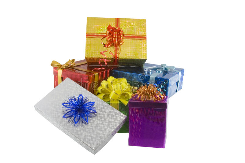 Gift boxes isolated on the white. Color gift boxes isolated on the white royalty free stock photo