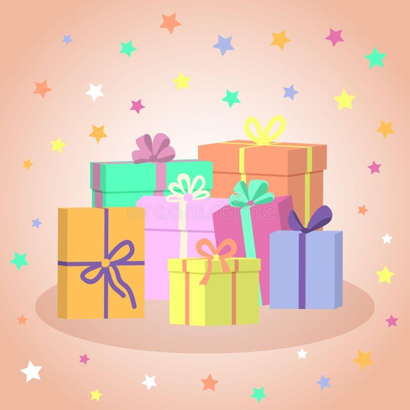 Gift Boxes Kleurrijk stelt voor Vector illustratie stock illustratie