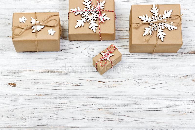 Gift boxes on light wooden background with copy space top view stock photo