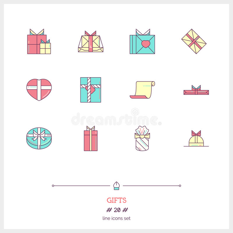 Gift boxes line color icons set. Lots of presents. stock illustration
