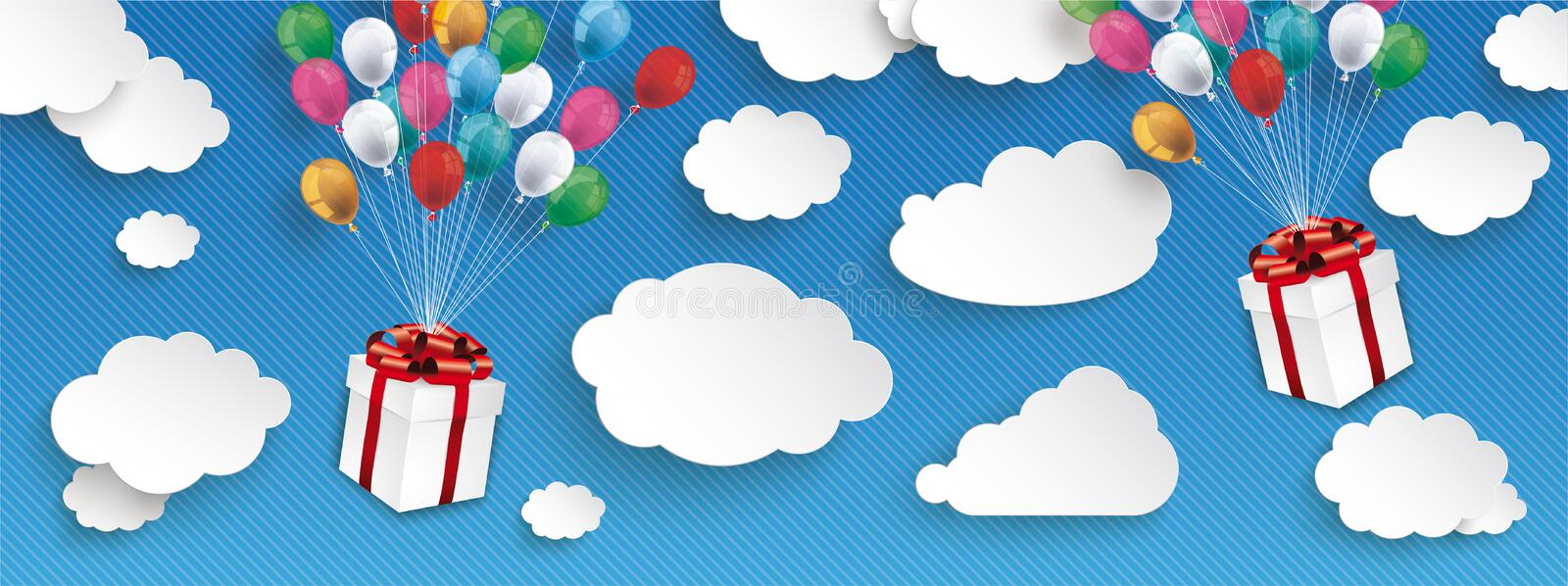 2 Gift Boxes Paper Clouds Striped Blue Sky Balloons Header stock photography