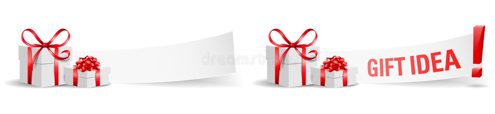 Gift boxes with paper gift idea set isolated vector vector illustration