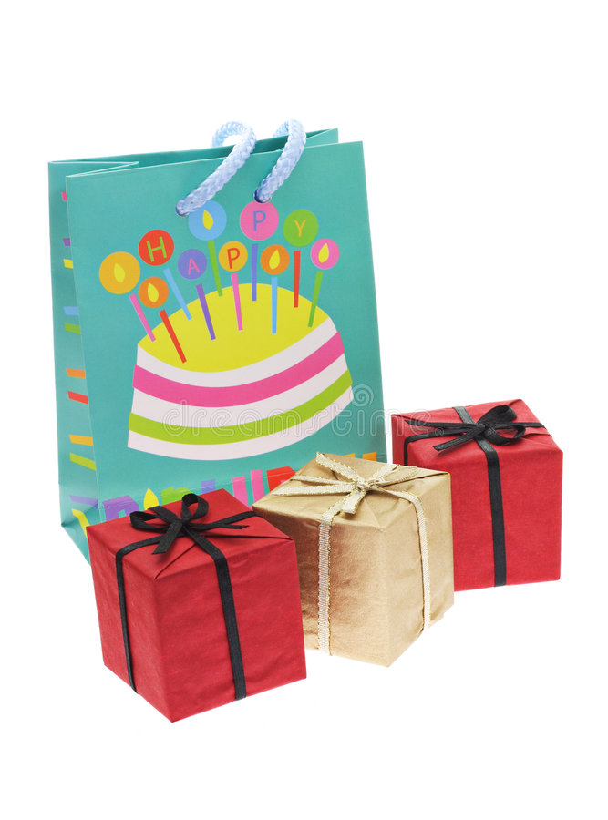 Gift boxes and party bag royalty free stock photo