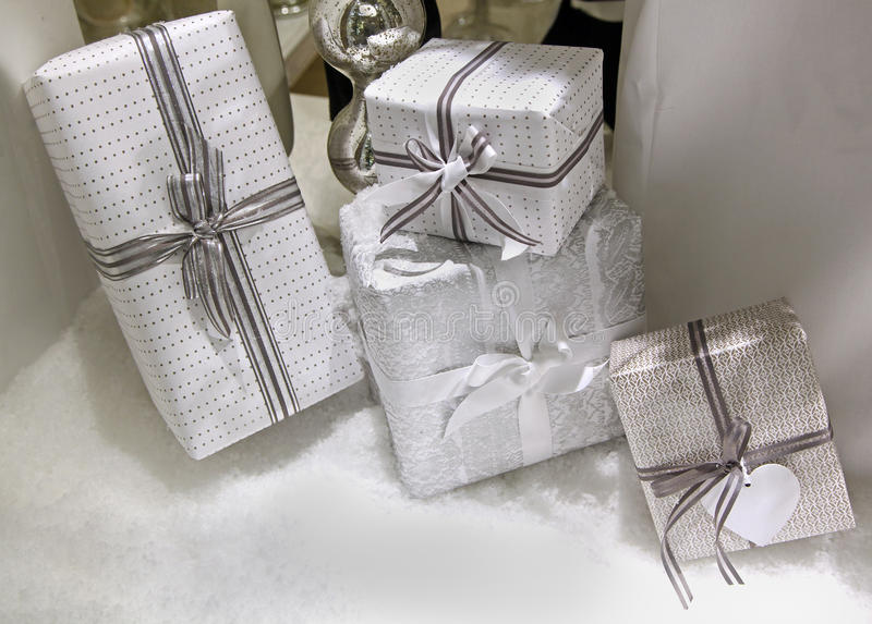 Gift boxes pile stock photography