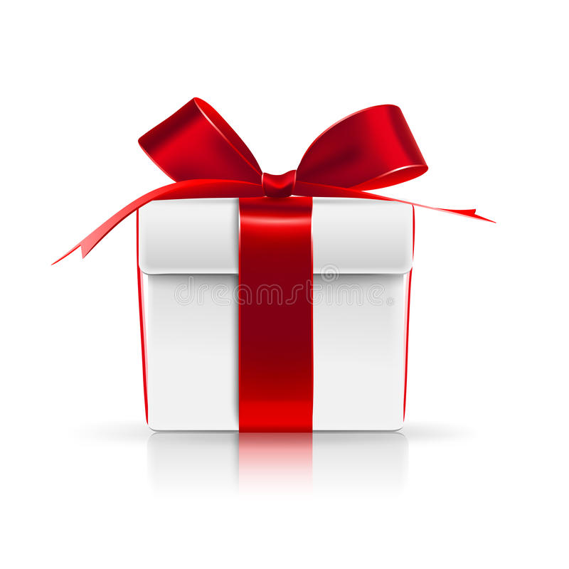 Gift boxes with red bows stock photos