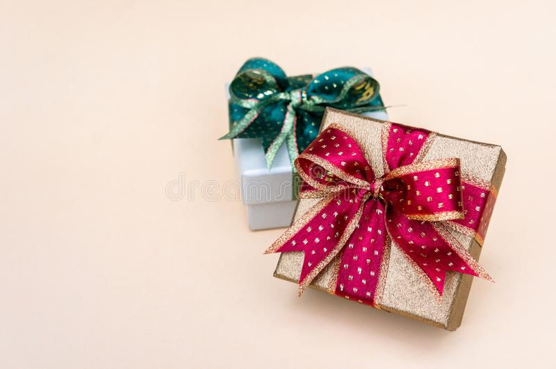 Gift boxes red and green box for Holiday Christmas background , thankgiving  Festival.2019 stock photos