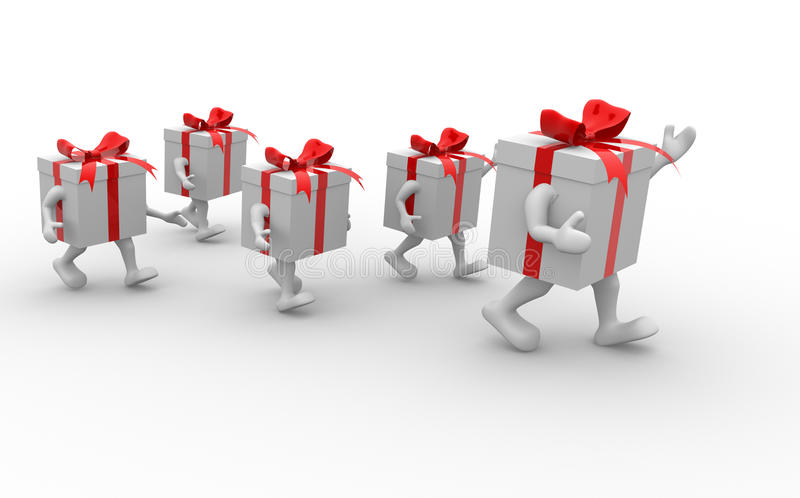 Gift boxes with red ribbon. 3d render illustration vector illustration