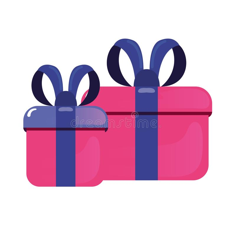 Gift boxes with ribbon stock illustration