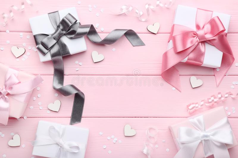 Gift boxes with ribbon stock photos