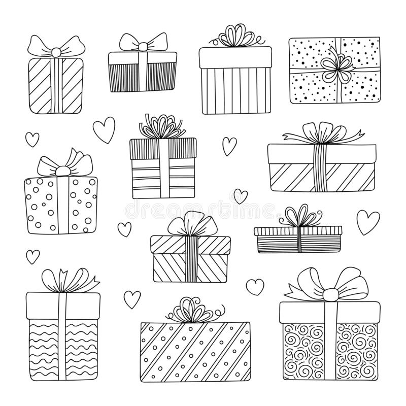 Gift boxes with ribbons set. stock illustration