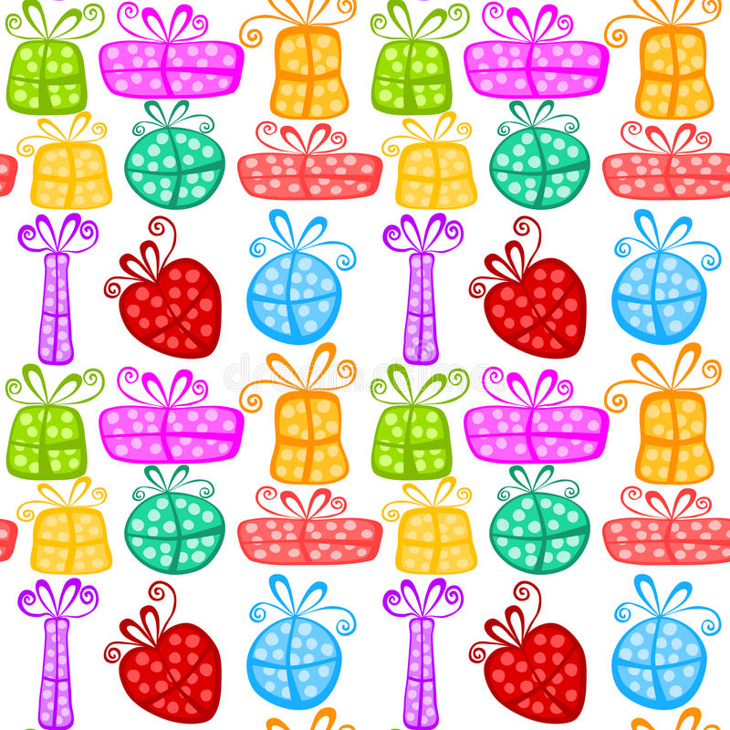 Gift boxes seamless pattern stock images