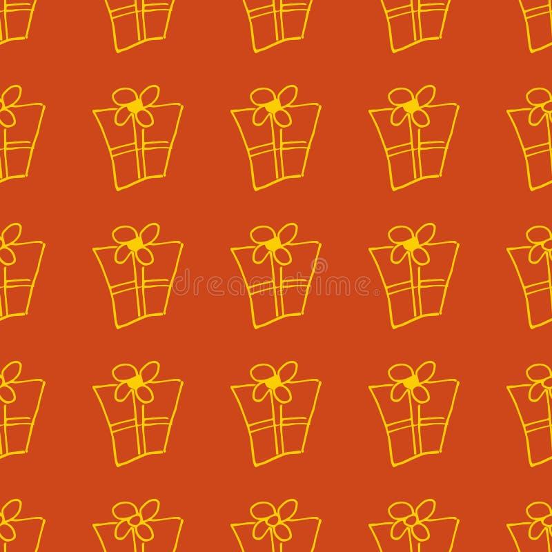 Gift boxes seamless pattern. Line, outline art. Light Christmas background stock illustration