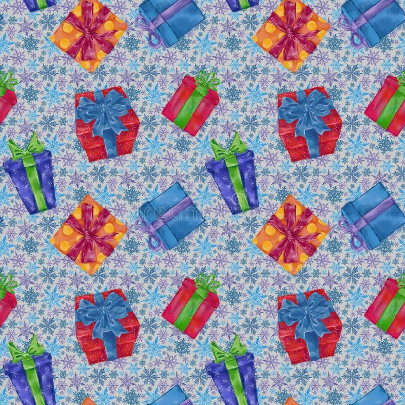 Gift Boxes Seamless Pattern with Snowflakes on Background. Christmas, New Year, and Winter Holidays Design for Gift Wrap, Background, and Textile royalty free illustration