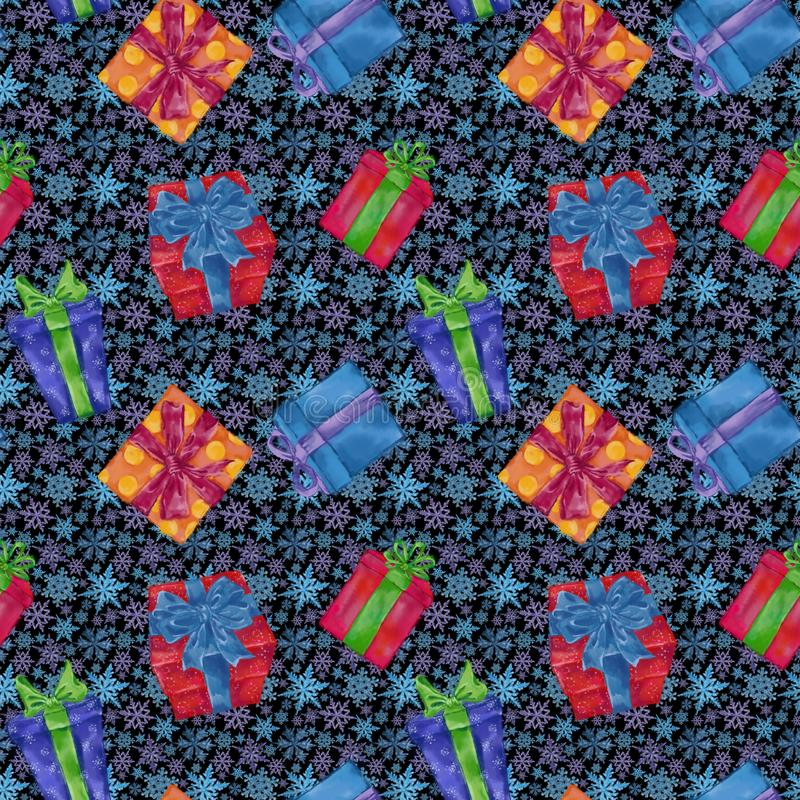 Gift Boxes Seamless Pattern with Snowflakes on Background. Christmas, New Year, and Winter Holidays Design for Gift Wrap, Background, and Textile stock photography