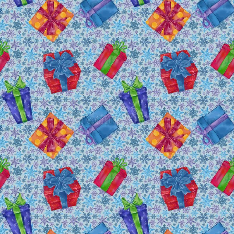 Gift Boxes Seamless Pattern with Snowflakes on Background. Christmas, New Year, and Winter Holidays Design for Gift Wrap, Background, and Textile stock illustration