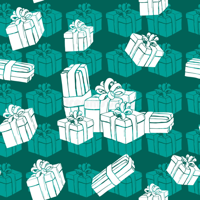 Gift boxes seamless pattern. With white presents and snowflake. Winter holidays presents. Vector illustration stock illustration