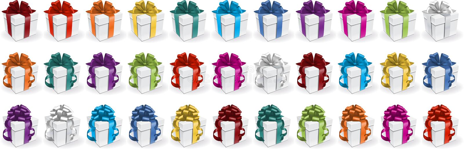 Gift boxes. Set of deferent colorful vector gift boxes royalty free illustration