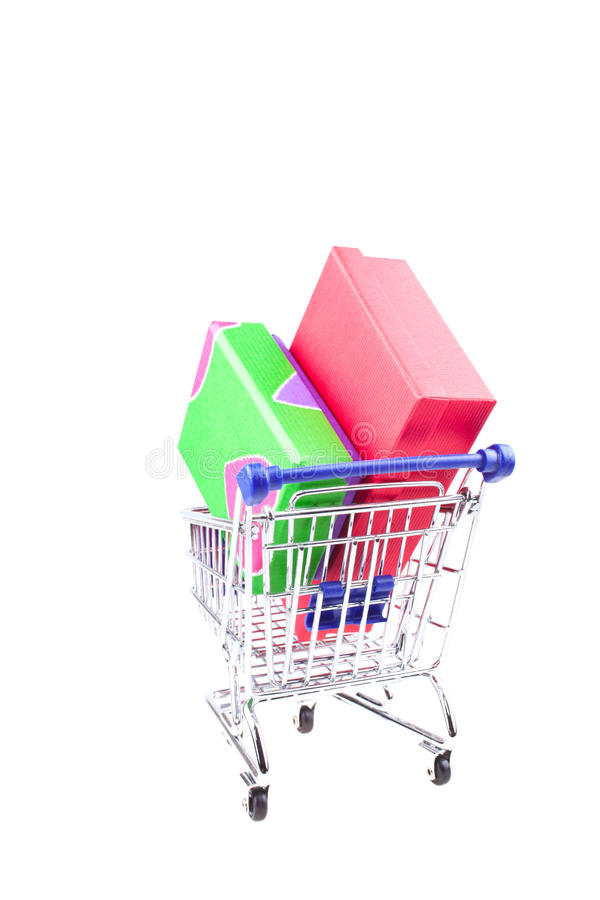 Gift Boxes In Shopping Trolley Stock Photography