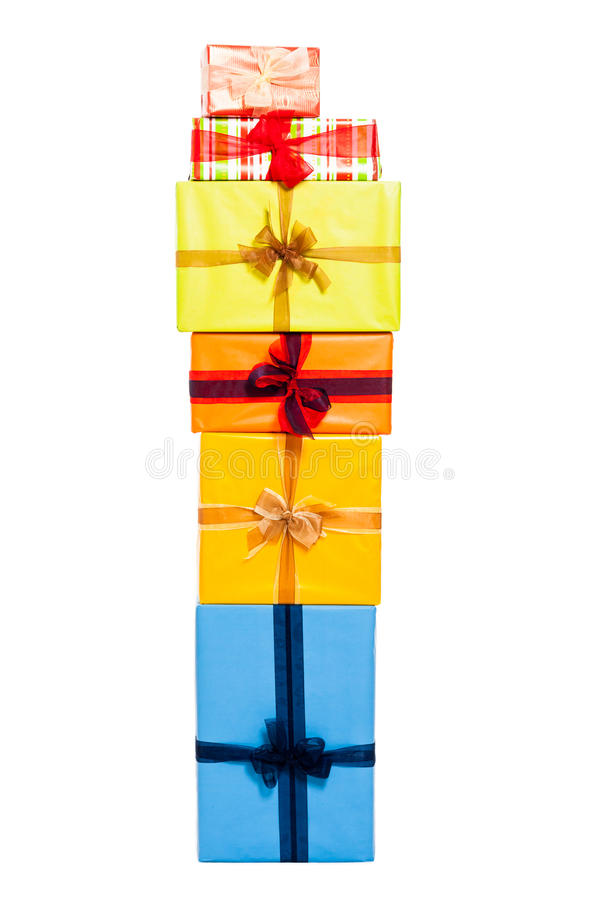Gift boxes stack. Colorful gift boxes stack, isolated on white background stock image