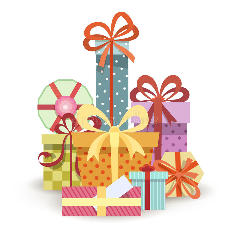 Gift boxes stack stock illustration