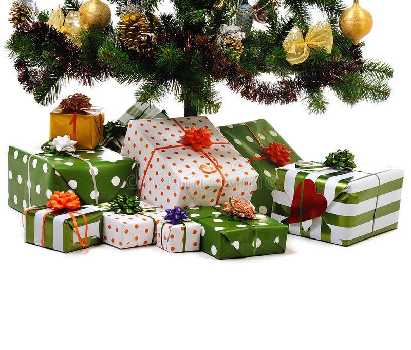 Presents Under The Christmas Tree: Gift Boxes Under Christmas Tree Stock Image