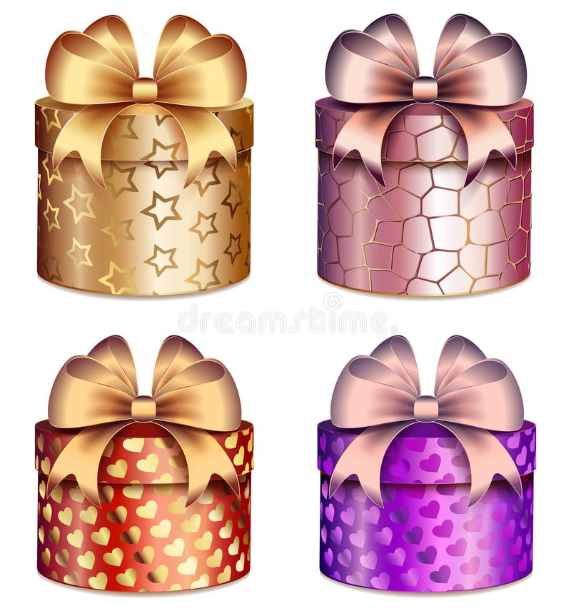 Free Gift Boxes With Bright Bows And Patterns Of Hearts And Stars Stock Photos - 108618723