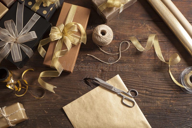 Gift boxes on wooden background. Gift boxes on thr wooden background royalty free stock image