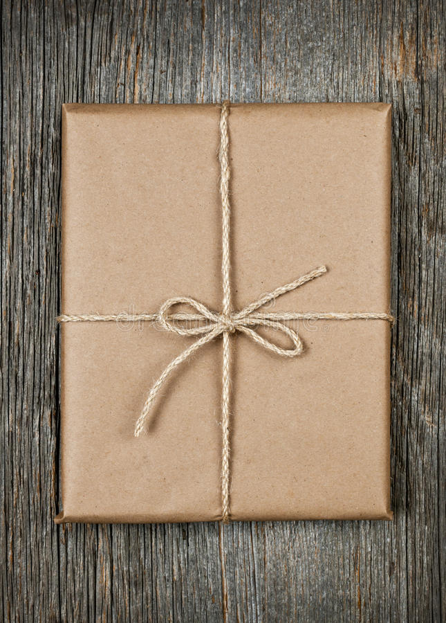 Download Gift In Brown Paper Tied With String Stock Photo - Image: 28802768