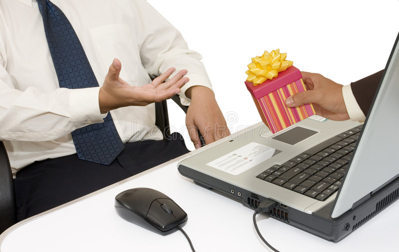 Gift for Businessman. Businessman gets an online gift royalty free stock images