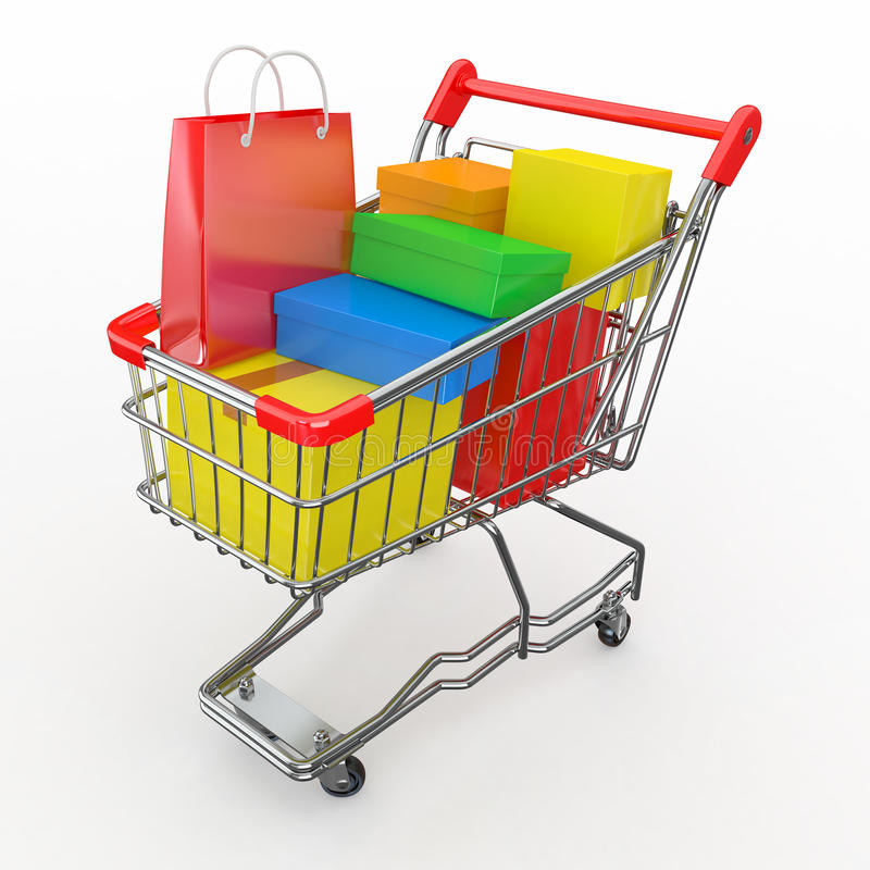 Download Gift Buying. Shopping Cart Full Of Boxes Royalty Free Stock Images - Image: 22991209