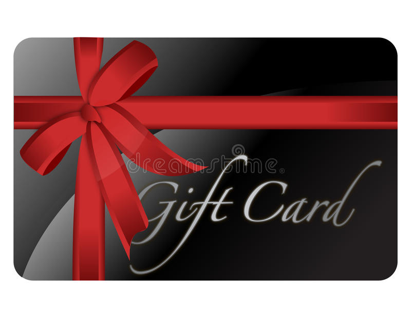 Gift Card. Black gift card with a red ribbon isolated over a white background