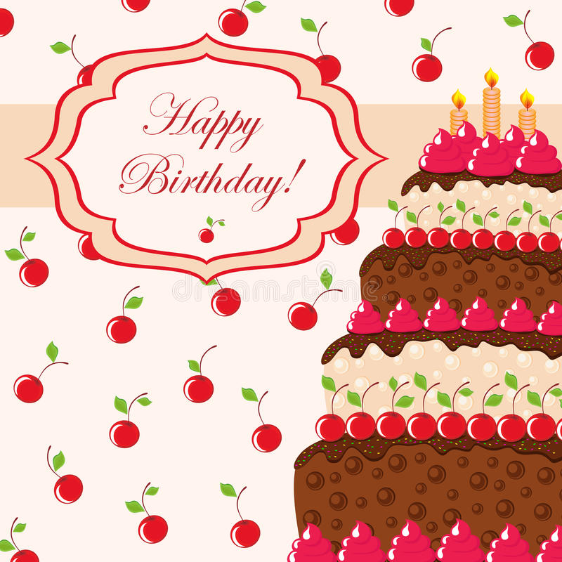 Download Gift Card With Birthday Cake Stock Vector - Image: 23772285