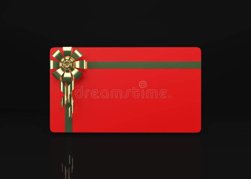 Gift Card On Black 3d Render royalty free stock photography