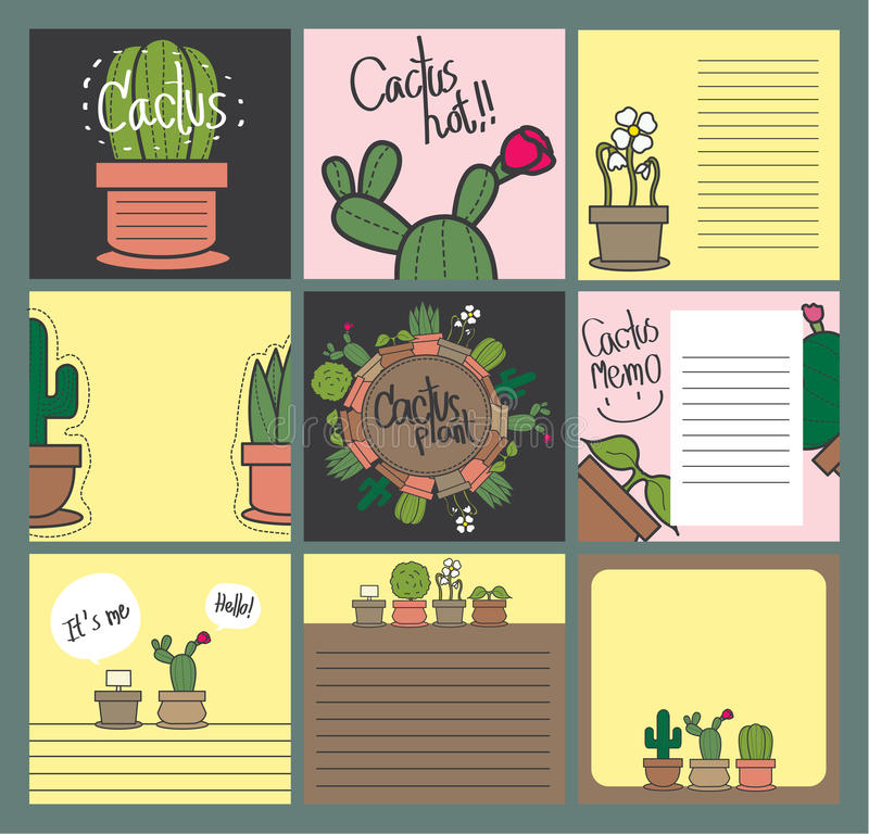 Gift card cactus set royalty free stock photos