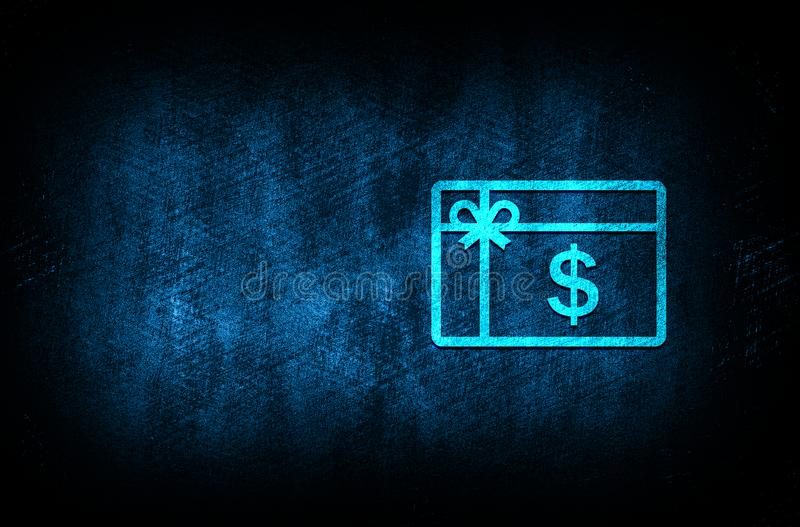 Gift card dollar sign icon abstract blue background illustration digital texture design concept. Gift card dollar sign icon abstract blue background illustration stock image